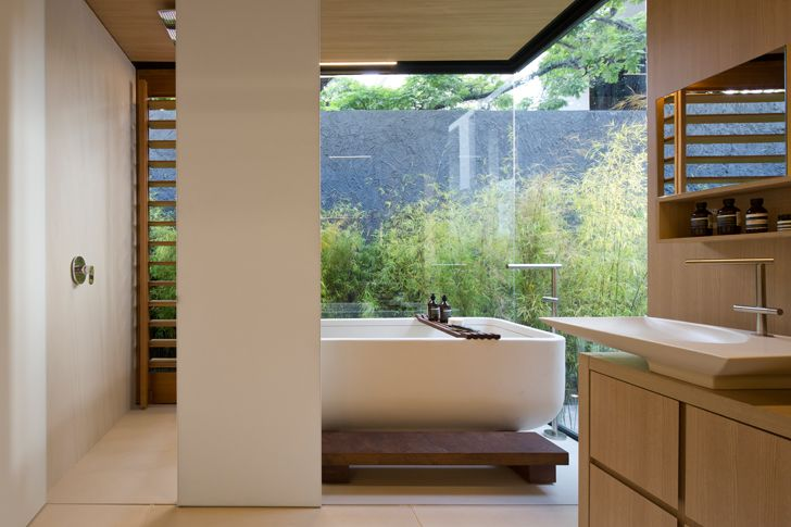 """luxury bathroom SysHaus Arthur Casas Design prefabricated homes indiaartndesign"""