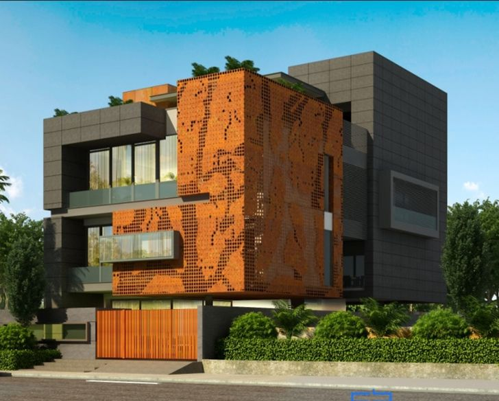 Metal facade HarmeetSinghLuthra Residence Cityspace82Architects indiaartndesign