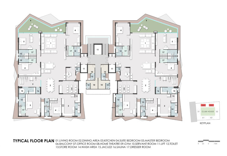 """typical floor plan Excellenseaa126 HappyHomes Surat SanjayPuriArchitects indiaartndesign"""