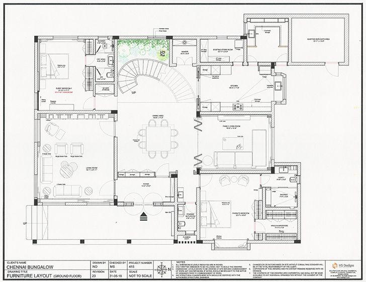 groundfloor plan Chennai residence HSDesiigns indiaartndesign