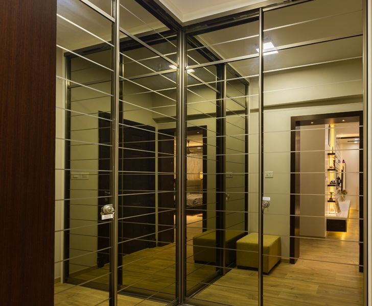 floor to ceiling mirrored wardrobe Sobha Palladium home The KariGhars indiaartndesign