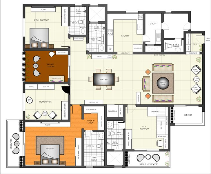 furniture layout Sobha Palladium home The KariGhars indiaartndesign