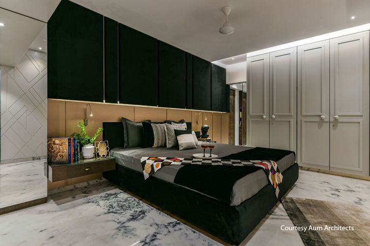 """bedroom in black mumbai residence AUM architects indiaartndesign"""
